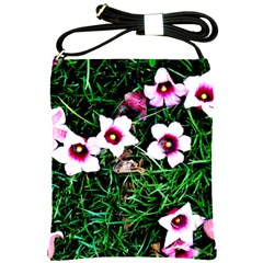 Pink Flowers Over A Green Grass Shoulder Sling Bags