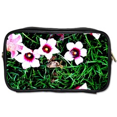 Pink Flowers Over A Green Grass Toiletries Bags