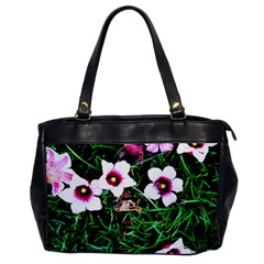 Pink Flowers Over A Green Grass Office Handbags