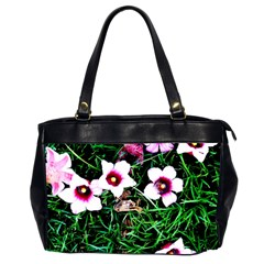 Pink Flowers Over A Green Grass Office Handbags (2 Sides)