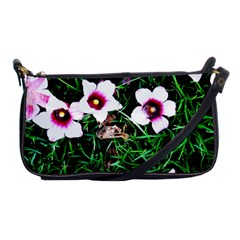 Pink Flowers Over A Green Grass Shoulder Clutch Bags