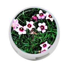 Pink Flowers Over A Green Grass 4 Port Usb Hub (one Side)