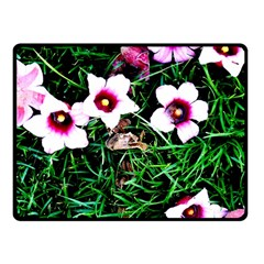 Pink Flowers Over A Green Grass Fleece Blanket (small)