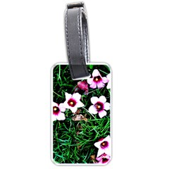 Pink Flowers Over A Green Grass Luggage Tags (two Sides) by DanaeStudio