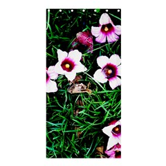 Pink Flowers Over A Green Grass Shower Curtain 36  X 72  (stall)
