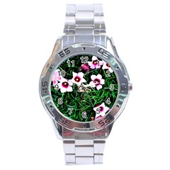 Pink Flowers Over A Green Grass Stainless Steel Analogue Watch