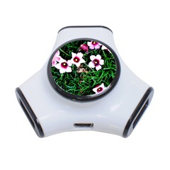 Pink Flowers Over A Green Grass 3 Port Usb Hub
