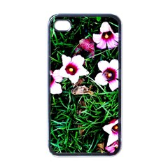 Pink Flowers Over A Green Grass Apple Iphone 4 Case (black)