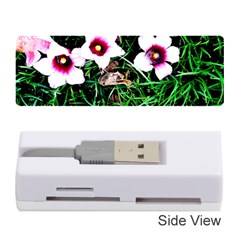 Pink Flowers Over A Green Grass Memory Card Reader (stick)