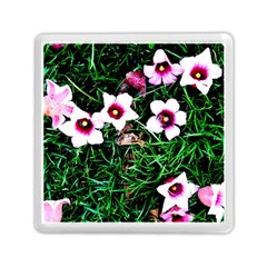 Pink Flowers Over A Green Grass Memory Card Reader (square)  by DanaeStudio