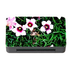 Pink Flowers Over A Green Grass Memory Card Reader With Cf