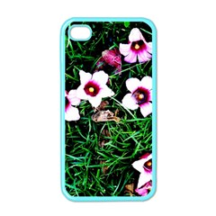 Pink Flowers Over A Green Grass Apple Iphone 4 Case (color)