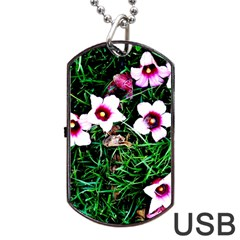 Pink Flowers Over A Green Grass Dog Tag Usb Flash (one Side)