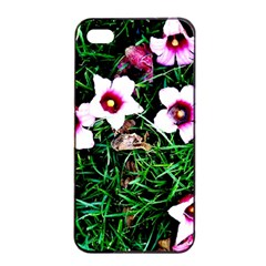 Pink Flowers Over A Green Grass Apple Iphone 4/4s Seamless Case (black)