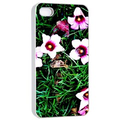 Pink Flowers Over A Green Grass Apple Iphone 4/4s Seamless Case (white)