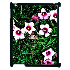 Pink Flowers Over A Green Grass Apple Ipad 2 Case (black)