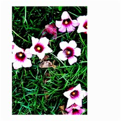Pink Flowers Over A Green Grass Small Garden Flag (two Sides)