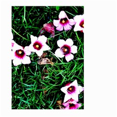 Pink Flowers Over A Green Grass Large Garden Flag (two Sides)