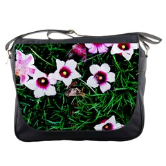 Pink Flowers Over A Green Grass Messenger Bags
