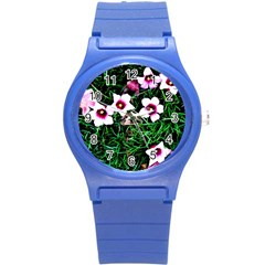 Pink Flowers Over A Green Grass Round Plastic Sport Watch (s)