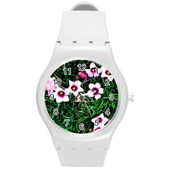 Pink Flowers Over A Green Grass Round Plastic Sport Watch (m)