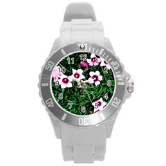 Pink Flowers Over A Green Grass Round Plastic Sport Watch (l)