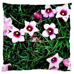 Pink Flowers Over A Green Grass Large Cushion Case (one Side)