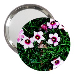Pink Flowers Over A Green Grass 3  Handbag Mirrors
