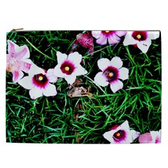 Pink Flowers Over A Green Grass Cosmetic Bag (xxl)