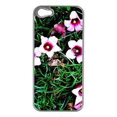 Pink Flowers Over A Green Grass Apple Iphone 5 Case (silver)