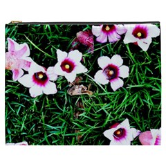 Pink Flowers Over A Green Grass Cosmetic Bag (xxxl)