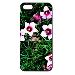 Pink Flowers Over A Green Grass Apple Iphone 5 Seamless Case (black)