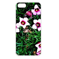 Pink Flowers Over A Green Grass Apple Iphone 5 Seamless Case (white)