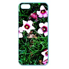 Pink Flowers Over A Green Grass Apple Seamless Iphone 5 Case (color)