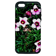 Pink Flowers Over A Green Grass Apple Iphone 5 Hardshell Case (pc+silicone)