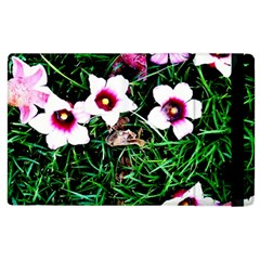 Pink Flowers Over A Green Grass Apple Ipad 3/4 Flip Case