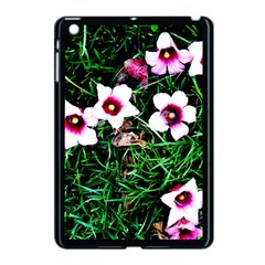 Pink Flowers Over A Green Grass Apple Ipad Mini Case (black)
