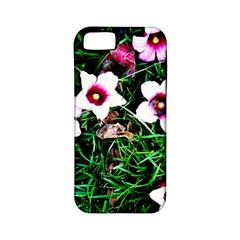 Pink Flowers Over A Green Grass Apple Iphone 5 Classic Hardshell Case (pc+silicone) by DanaeStudio
