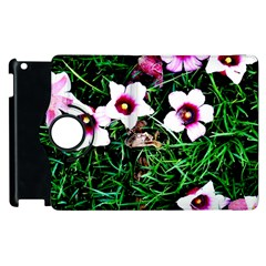 Pink Flowers Over A Green Grass Apple Ipad 2 Flip 360 Case