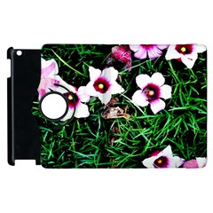 Pink Flowers Over A Green Grass Apple Ipad 3/4 Flip 360 Case