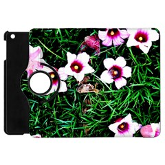 Pink Flowers Over A Green Grass Apple Ipad Mini Flip 360 Case