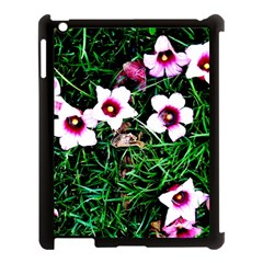 Pink Flowers Over A Green Grass Apple Ipad 3/4 Case (black) by DanaeStudio