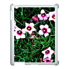 Pink Flowers Over A Green Grass Apple Ipad 3/4 Case (white)