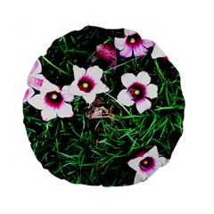 Pink Flowers Over A Green Grass Standard 15  Premium Round Cushions
