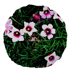Pink Flowers Over A Green Grass Large 18  Premium Round Cushions