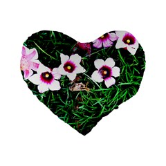 Pink Flowers Over A Green Grass Standard 16  Premium Heart Shape Cushions