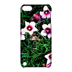 Pink Flowers Over A Green Grass Apple Ipod Touch 5 Hardshell Case With Stand