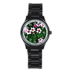 Pink Flowers Over A Green Grass Stainless Steel Round Watch