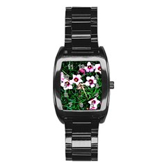 Pink Flowers Over A Green Grass Stainless Steel Barrel Watch