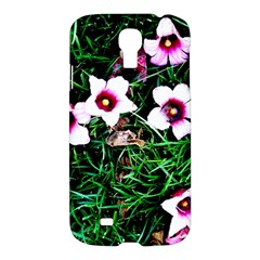 Pink Flowers Over A Green Grass Samsung Galaxy S4 I9500/i9505 Hardshell Case